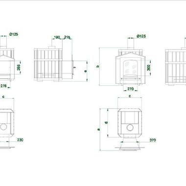 Схема печі-кам'янки для лазні серії Пруток Панорама від Новослав