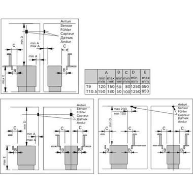 Схема приєднувальних розмірів електрокам'янок класу Harvia Senator